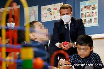 Macron dans une PMI de Longjumeau pour promouvoir le congé paternité - Paris Match