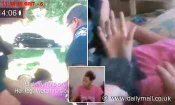 Shocking moment mom-of-two is hogtied and carried out of her home by cops after CPS visited her home