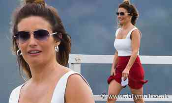 Ada Nicodemou shows off her figure as she joins her co-stars to films scenes for Home and Away