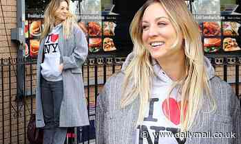 Kaley Cuoco wears a 'I Love NY' hoodiewhile on the set of The Flight Attendant in Brooklyn