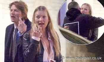 Kate Moss steps out make-up free with  Count Nikolai von Bismarck before hugging Dior's Kim Jones