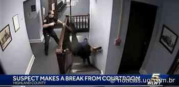 Homem foge de tribunal e dribla guarda (que cai da escada) após condenação - UOL Notícias