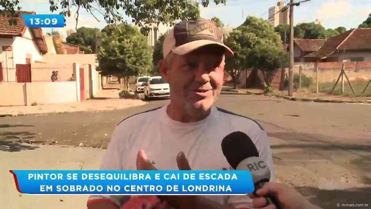 Pintor se desequilibra e cai de escada em sobrado no centro de Londrina - RIC Mais Paraná