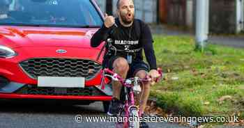 'Mad' dad cycles from Glasgow to Wythenshawe on daughter's little pink bike