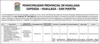 Aviso: MUNICIPALIDAD PROVINCIAL DE HUALLAGA SAPOSOA – HUALLAGA – SAN MARTÍN - Diario Voces