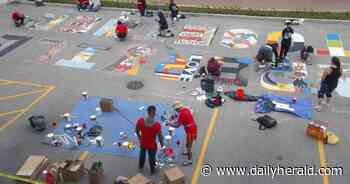 'Naperville Together' street mural painted in city's downtown