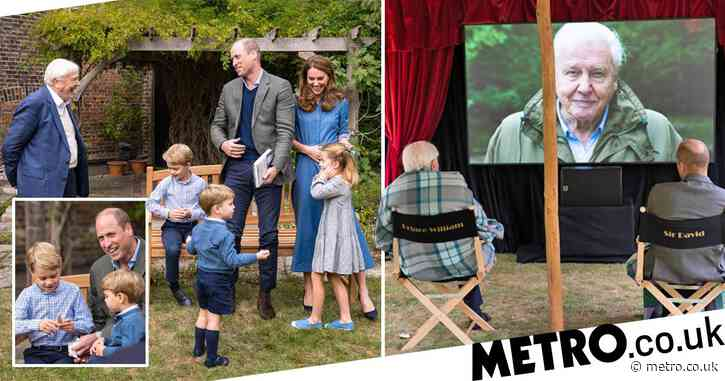 George and Charlotte join David Attenborough for royal premiere in their garden