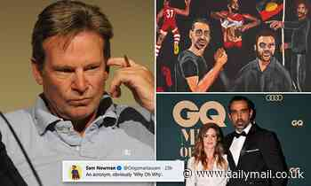 Sam Newman hits out at portrait of Adam Goodes years after he defended fans for booing AFL legend