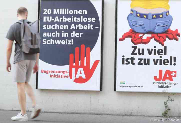 Swiss voters reject curbs on EU immigration: TV projection