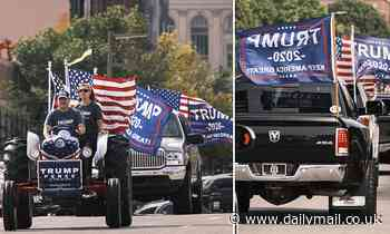 More than 1,500 people in 500 vehicles participate in a pro-Trump motorcade through Des Moines