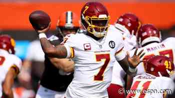 TD strike by Dwayne Haskins gives Washington early lead at Cleveland