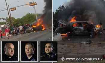 Hero Dallas cops along with bystanders save driver from his burning vehicle after fiery crash