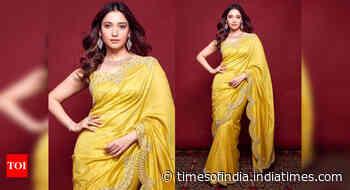 Tamannaah's yellow sari look is alluring