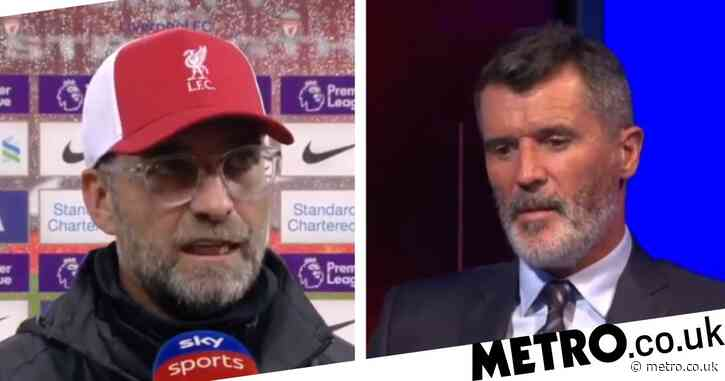 Jurgen Klopp argues with Manchester United legend Roy Keane after Liverpool's victory over Arsenal