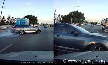 Terrifying moment hapless driver causes huge four-car crash on a major highway