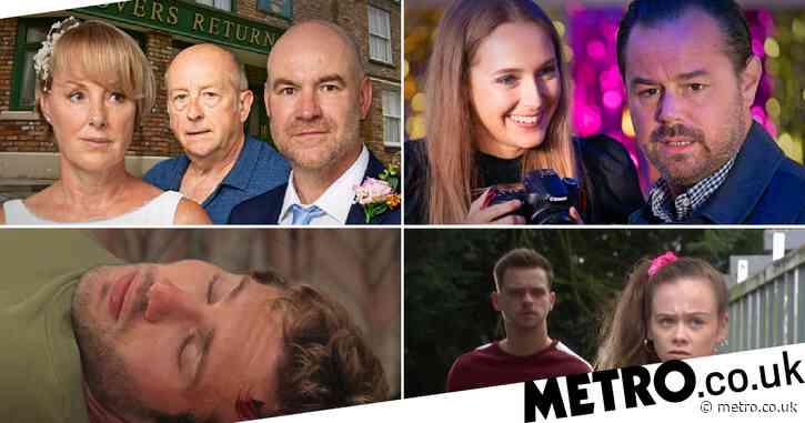 12 soap spoiler pictures: EastEnders Mick's shock daughter, Coronation Street Geoff wedding revenge, Emmerdale affair shock, Hollyoaks betrayal