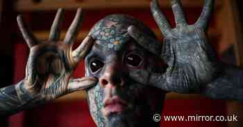 Tattooed man says inking his eyeballs black cost him his kindergarten job