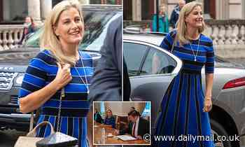 Sophie Wessex is elegant in a blue and black statement frock
