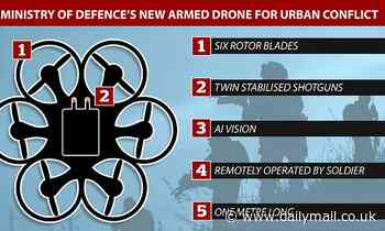MoD unveils dronearmed with twin shotguns and machine vision