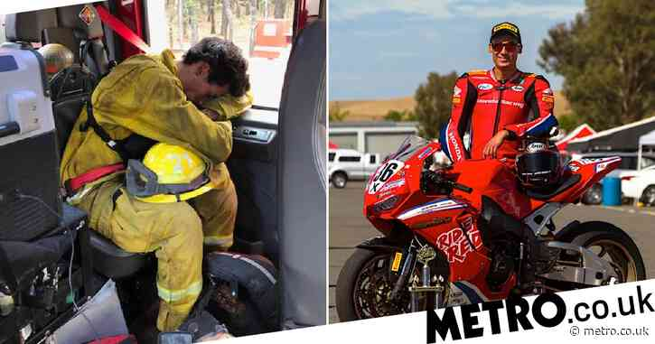 Star motorcyclist takes break from track to become volunteer firefighter in blaze-hit California