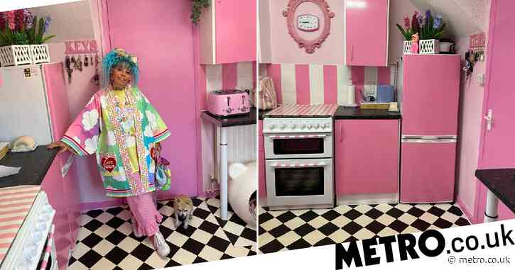 Mum turns her kitchen into a bright pink Barbie dream for less than £100