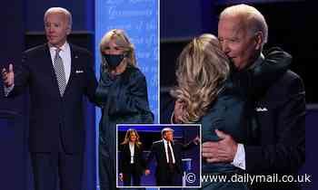 Jill Biden keeps her mask on while Melania Trump takes hers off