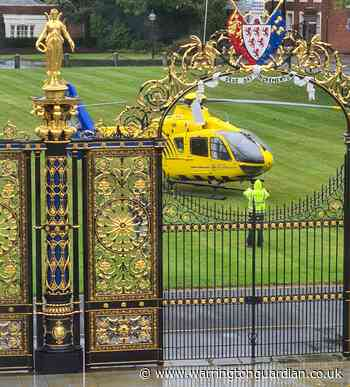 Air ambulance lands at Town Hall after man falls from roof