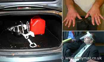 Photos show meat grinder in car trunk of son accused of butchering his parents