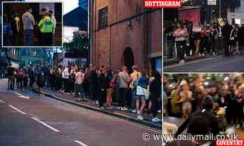 Freshers ignore social distancing as they cram on pavement outside club