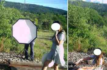 Shocking pictures show woman posing on live railway tracks for photoshoot