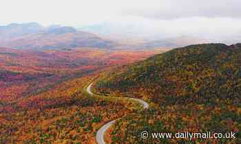Breathtaking drone footage captures iconic fall foliage covering New Hampshire's White Mountains
