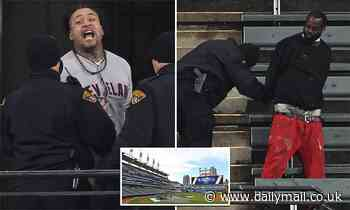 Two fans are arrested for breaking into the Cleveland Indians' stadium during their playoff game