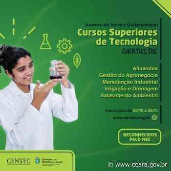 Centec oferece 270 vagas em cursos superiores gratuitos em Quixeramobim e Juazeiro do Norte - Ceará