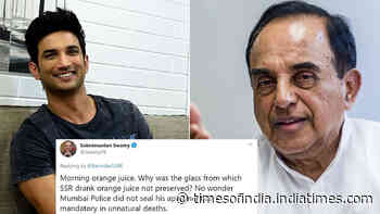 Sushant Singh Rajput case: Subramanian Swamy asks why the glass from which SSR drank juice was not preserved