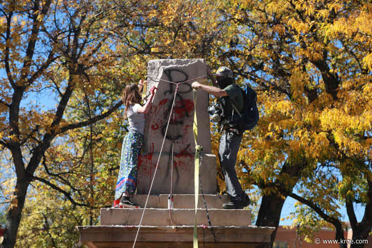 PHOTOS: Santa Fe Plaza obelisk torn down by protesters