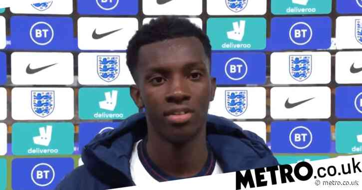 Arsenal striker Eddie Nketiah reacts after passing Alan Shearer and Francis Jeffers to become England U21's record goalscorer