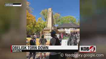 Protesters knock down obelisk monument on Santa Fe Plaza