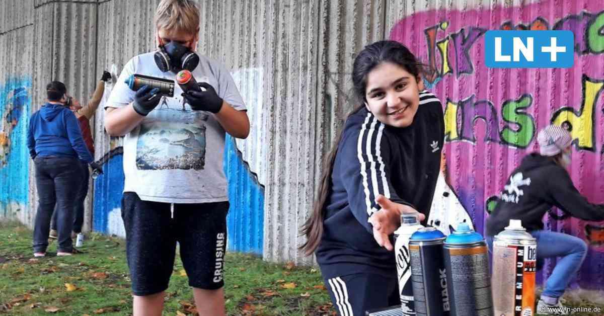 Sprayer: Kids vom Jugendzentrum Wahlstedt peppen triste Betonwand auf - Lübecker Nachrichten