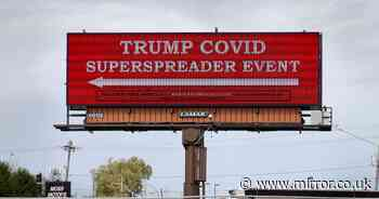 Donald Trump Iowa rally branded 'superspreader event' by giant billboard