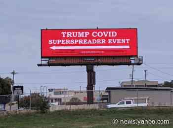 Giant billboard in Iowa directs people looking for campaign rally to 'Trump Covid superspreader event'