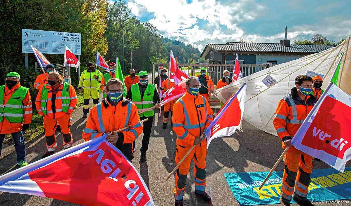 Meßkirch: Tarifstreik im Landkreis Sigmaringen: Transparente aber keine Trillerpfeifen bei der Kreismülldeponie in Ringgenbach - SÜDKURIER Online