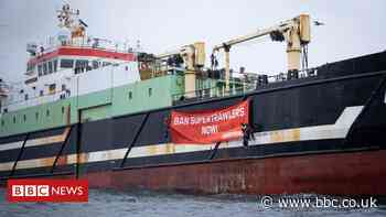 Greenpeace protest on factory trawler fishing off Orkney