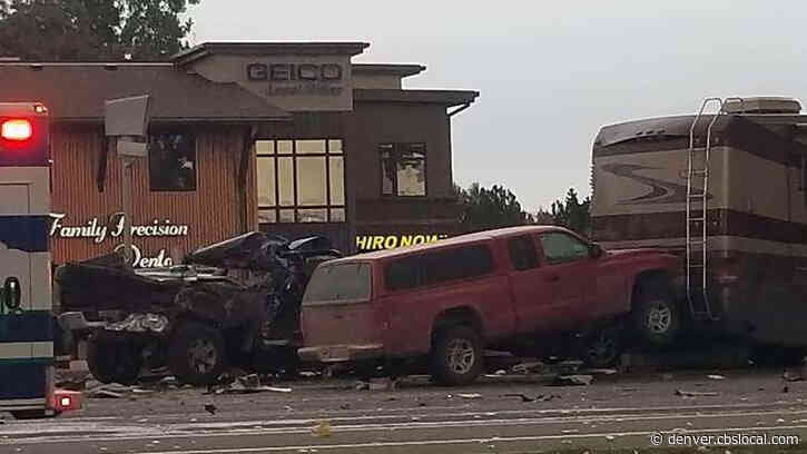 Motorhome Crashes Into Cars Stopped At Red Light In Fort Collins