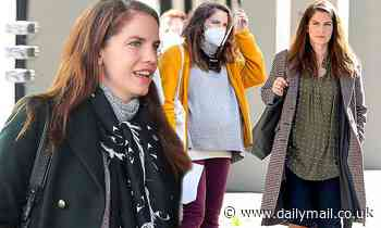 Anna Chlumsky shows off three different costumes on the set of her Netflix miniseries Inventing Anna