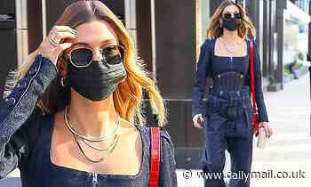 Hailey Bieber wears denim utility-inspired outfit in Brooklyn