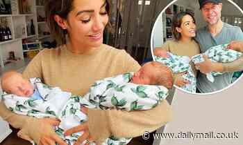 Frankie Bridge beams as she cradles her sisterVictoria Cook's newborn twins