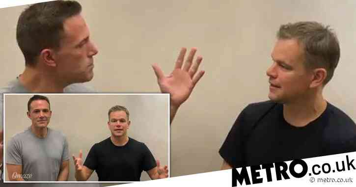 Ben Affleck and Matt Damon hilariously rib each other as they team up for charity giveaway