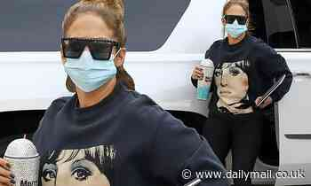 Jennifer Lopez steps out in designer sweatshirt and leggings after covering new issue of Billboard