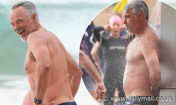 Home and Away star Cameron Daddo shows off his dad bod at the beach