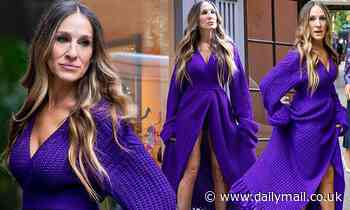 Sarah Jessica Parker wears a purple knitted dress and hot pink shoes